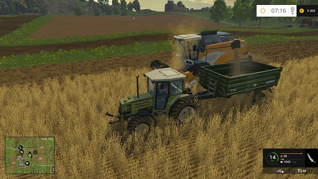 When hiring a worker to harvest the crop for you, you can load it on a trailer at the same time. - Sowing, cultivation, harvest - Basics - Farming Simulator 15 Game Guide