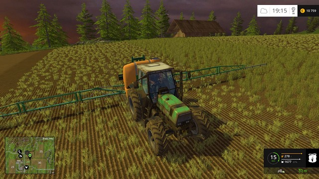 Spraying the field takes only a few whiles. - Buying a sprayer - Basics - Farming Simulator 15 Game Guide