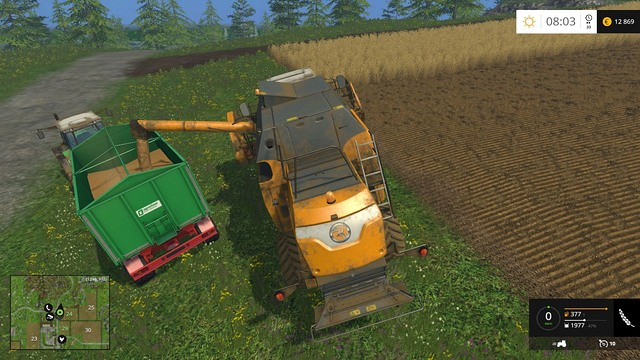 The new trailer can load almost three times as much crop as the previous one. - Changing your equipment - Basics - Farming Simulator 15 Game Guide