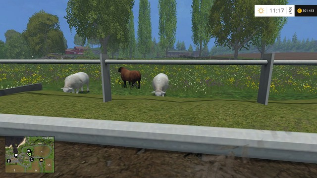 The sheep are eating, which means they wills start producing wool soon. - Sheep - Animals - Farming Simulator 15 Game Guide