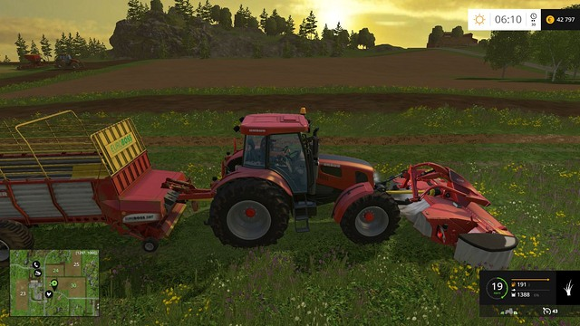 Working with a mower and a trailer at the same time will allow you to collect grass very fast. - Grass, hay, straw - Plants - Farming Simulator 15 Game Guide