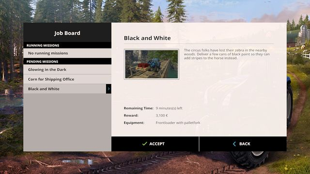 This tab informs you about the type of mission and about the reward. - Missions - Plants - Farming Simulator 15 Game Guide