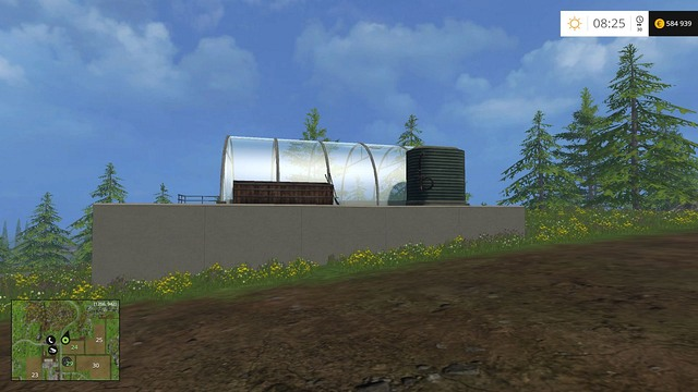 The greenhouse requires water and manure to bring profit - Available objects - Placing objects - Farming Simulator 15 Game Guide