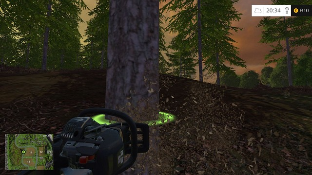 The circle marks the place where the chain saw will cut. - Woodcutting - Other - Farming Simulator 15 Game Guide