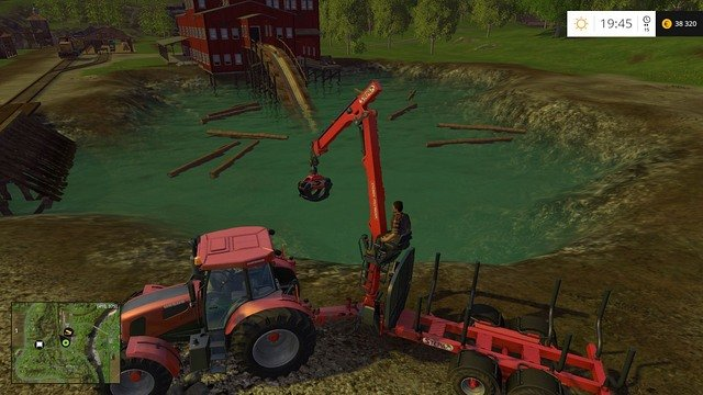 Just throw the logs into the water. - Woodcutting - Other - Farming Simulator 15 Game Guide