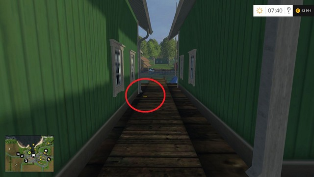 Between two green houses - Section B - coins 13 - 29 - Gold Coins - Farming Simulator 15 Game Guide