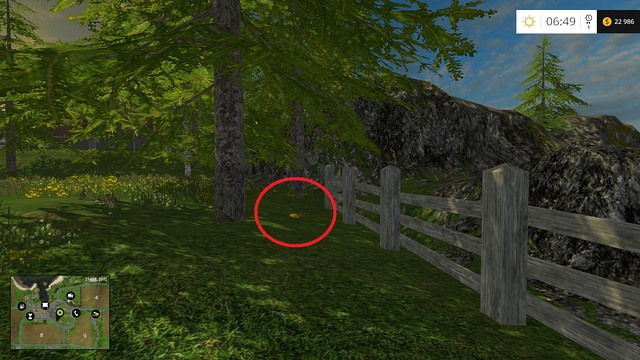 Under a tree, near the fence - Section B - coins 13 - 29 - Gold Coins - Farming Simulator 15 Game Guide