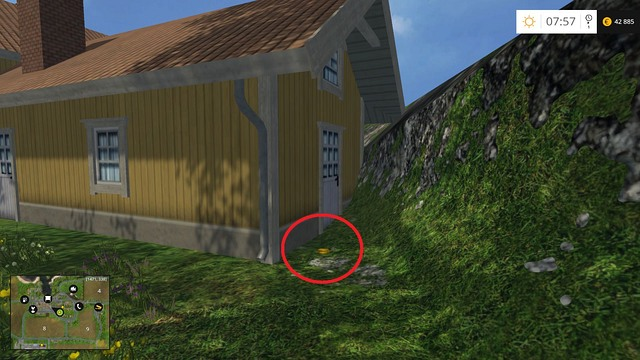 Behind a yellow house, near the rocks - Section B - coins 13 - 29 - Gold Coins - Farming Simulator 15 Game Guide