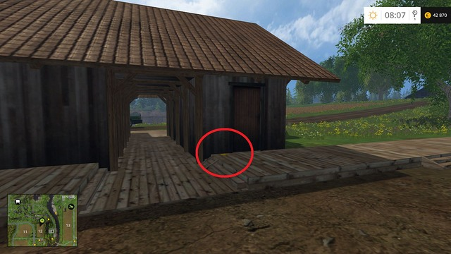 Behind a building on field no - Section C - coins 30 - 44 - Gold Coins - Farming Simulator 15 Game Guide