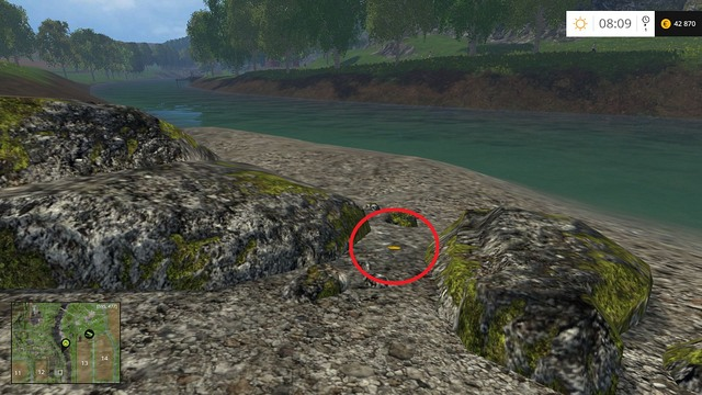 Between rocks, by the river - Section C - coins 30 - 44 - Gold Coins - Farming Simulator 15 Game Guide