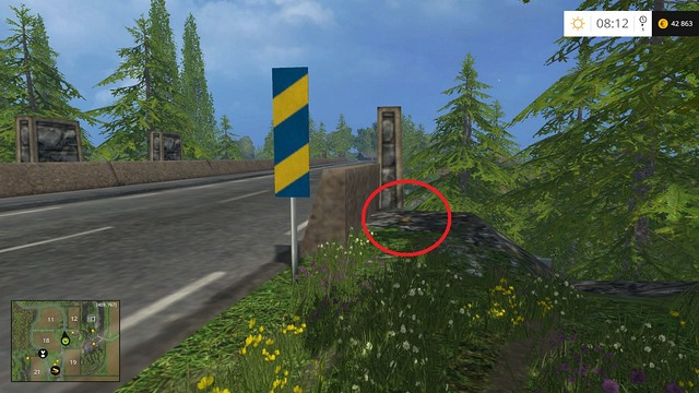 In the corner of the bridge, behind a sign - Section C - coins 30 - 44 - Gold Coins - Farming Simulator 15 Game Guide