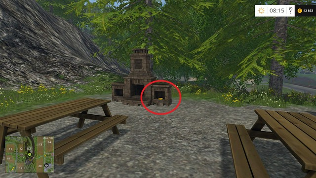 In a fireplace on a square with wooden tables - Section C - coins 30 - 44 - Gold Coins - Farming Simulator 15 Game Guide