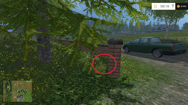 On the ground, near a stone fence - Section C - coins 30 - 44 - Gold Coins - Farming Simulator 15 Game Guide