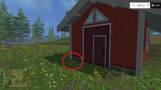Behind a red house on the edge of field no - Section C - coins 30 - 44 - Gold Coins - Farming Simulator 15 Game Guide