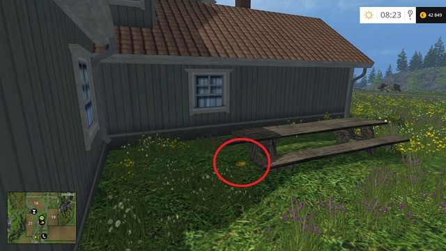 Near a table behind the house - Section C - coins 30 - 44 - Gold Coins - Farming Simulator 15 Game Guide