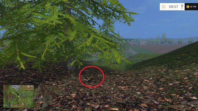 Under a tree - Section D - coins 45 - 54 - Gold Coins - Farming Simulator 15 Game Guide
