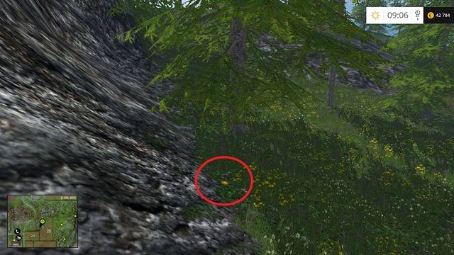 Under a tree, near some rocks - Section D - coins 45 - 54 - Gold Coins - Farming Simulator 15 Game Guide