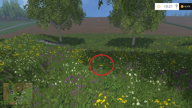 In the grass, near a tree - Section E - coins 55 - 69 - Gold Coins - Farming Simulator 15 Game Guide