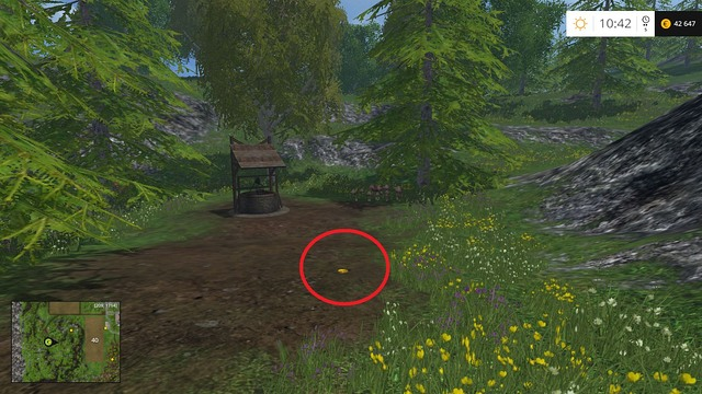 On a path right, near a well - Section E - coins 55 - 69 - Gold Coins - Farming Simulator 15 Game Guide
