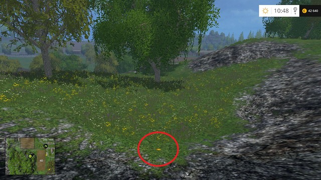 On the ground near some rocks - Section E - coins 55 - 69 - Gold Coins - Farming Simulator 15 Game Guide