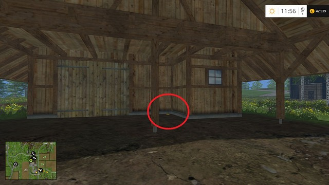Near a wooden hut - Section F - coins 70 - 89 - Gold Coins - Farming Simulator 15 Game Guide