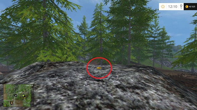 On a rock, in a small forest - Section F - coins 70 - 89 - Gold Coins - Farming Simulator 15 Game Guide