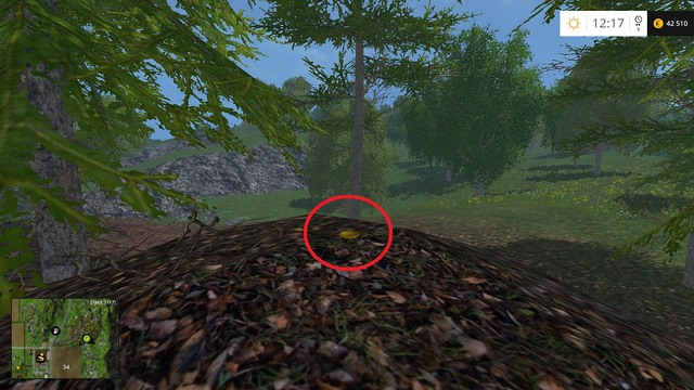 In the same forest, on a small hill - Section F - coins 70 - 89 - Gold Coins - Farming Simulator 15 Game Guide