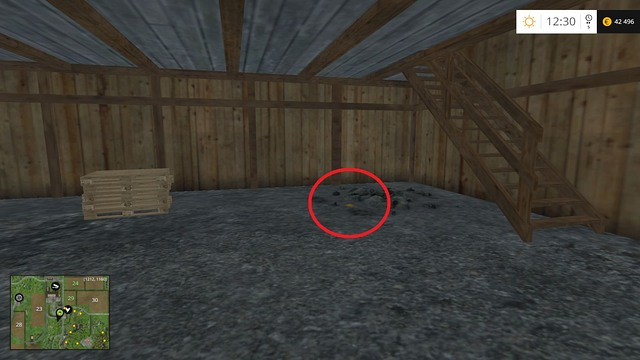 Inside the wooden building where the plough is at the beginning, near the stairs - Section F - coins 70 - 89 - Gold Coins - Farming Simulator 15 Game Guide