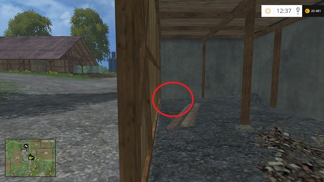 On the lower level of the building connected to the chicken coop - Section F - coins 70 - 89 - Gold Coins - Farming Simulator 15 Game Guide
