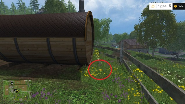 Behind a wooden barrel, near the fence - Section F - coins 70 - 89 - Gold Coins - Farming Simulator 15 Game Guide