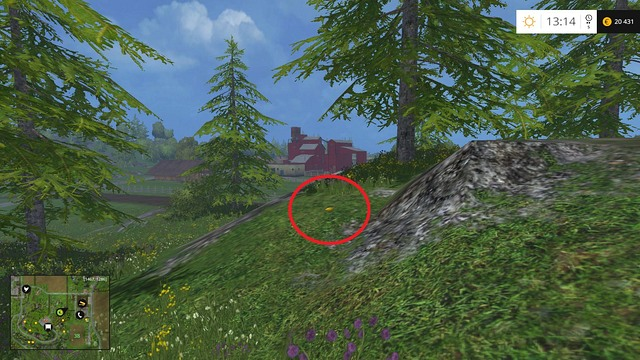 On the ground, near a rock and a tree - Section F - coins 70 - 89 - Gold Coins - Farming Simulator 15 Game Guide