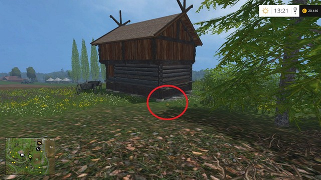 Close to the previous coin, behind a wooden hut - Section F - coins 70 - 89 - Gold Coins - Farming Simulator 15 Game Guide