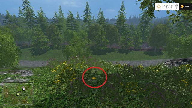 In the grass, not far from the tree - Section F - coins 70 - 89 - Gold Coins - Farming Simulator 15 Game Guide