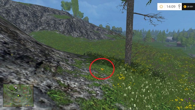 Between a tree and some rocks - Section G - coins 90 - 100 - Gold Coins - Farming Simulator 15 Game Guide