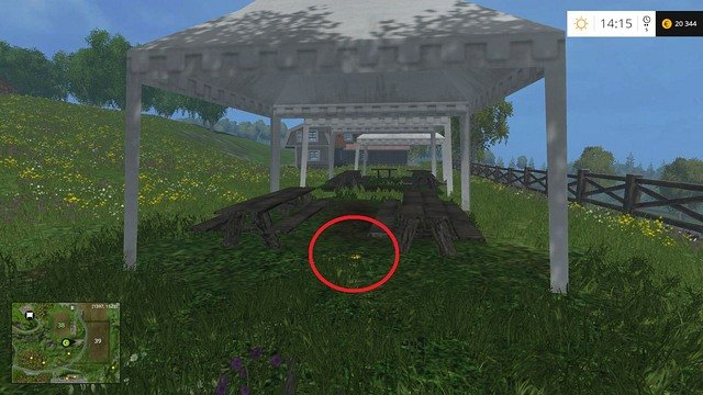 Under a white tent, near the tables - Section G - coins 90 - 100 - Gold Coins - Farming Simulator 15 Game Guide