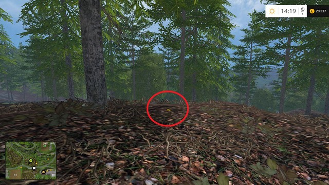 On the leaf litter, near a tree - Section G - coins 90 - 100 - Gold Coins - Farming Simulator 15 Game Guide