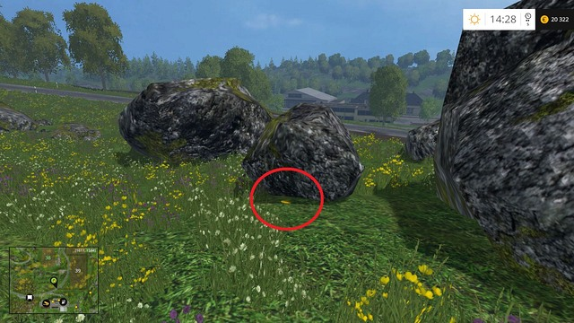 Under one of the rocks - Section G - coins 90 - 100 - Gold Coins - Farming Simulator 15 Game Guide