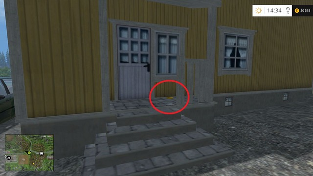 In front of the entrance to a yellow house - Section G - coins 90 - 100 - Gold Coins - Farming Simulator 15 Game Guide