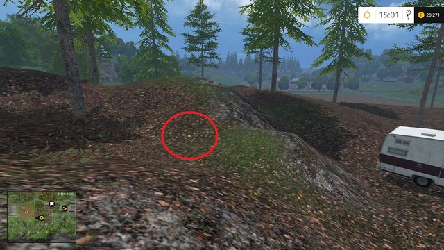 On the ground, near a caravan - Section G - coins 90 - 100 - Gold Coins - Farming Simulator 15 Game Guide