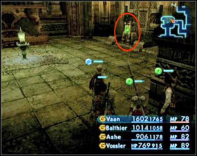 Switch in the south wing. After activating it you'll be attacked by three liches. Use the teleportation device to get to the main hall. - The Tomb of Raithwall - Part I - Final Fantasy XII - Game Guide and Walkthrough