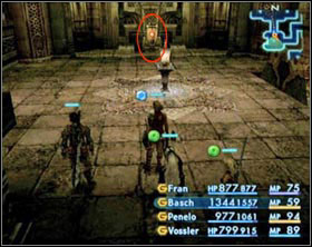 Switch in the north wing. After activating it you'll be attacked by three Zombie Mages. Use the teleportation device to get to the main hall. - The Tomb of Raithwall - Part I - Final Fantasy XII - Game Guide and Walkthrough