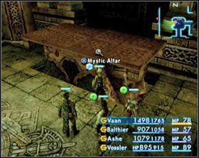 After activating one of the switches the Mystic Altar will lower half way down in the south and north wing at the same time. - The Tomb of Raithwall - Part I - Final Fantasy XII - Game Guide and Walkthrough