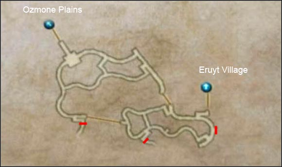 The red lines shows the positions of magic blockades which deny you access to deeper areas. You will be able to go through them but not yet. - Golmore Jungle - Part II - Final Fantasy XII - Game Guide and Walkthrough