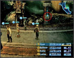 Inside press the blue button on a pillar and run to the doors that have just opened - Henne Mines - Part II - Final Fantasy XII - Game Guide and Walkthrough