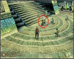 After the battle leave the Holy Circle and talk to a strolling Acolyte at the foot of the stairs - Stilshrine of Miriam - Part II - Final Fantasy XII - Game Guide and Walkthrough