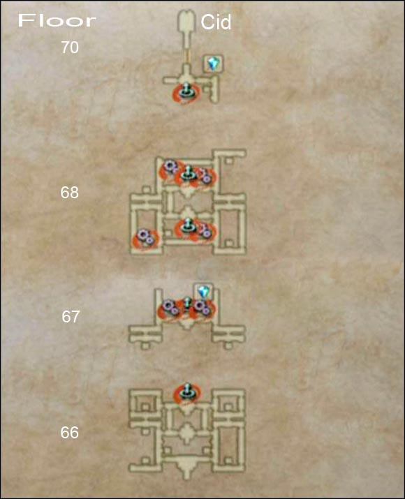 Cogs shows the position of devices used for opening the door and the arrows pointing up shows the positions of elevators. - Draklor Laboratory - Part II - Final Fantasy XII - Game Guide and Walkthrough
