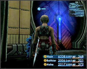 The console opening the red door (on the left) and closed blue door (on the right) - Draklor Laboratory - Part II - Final Fantasy XII - Game Guide and Walkthrough