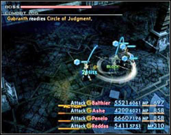 His attacks beside Kick and Lunge are Circle of Judgment which deals damage to all those standing near him and Guilt which aim in one of your heroes - Third Ascent - Part III - Final Fantasy XII - Game Guide and Walkthrough