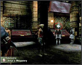 When you close in to that object the exclamation will turn into a cloud with two exclamations inside and underneath X and the name of the object appear (on screen 1 it's the entrance to the Sandsea pub in Rabanastre) - Short manual - Misc - Final Fantasy XII - Game Guide and Walkthrough