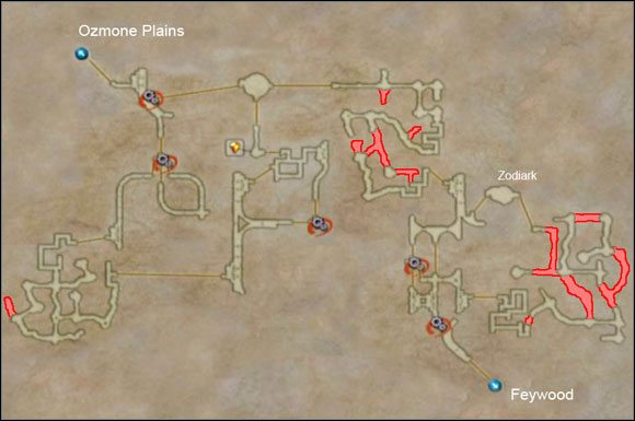 Hidden areas are marked in red - Henne Mines II - Additional Locations - Final Fantasy XII - Game Guide and Walkthrough
